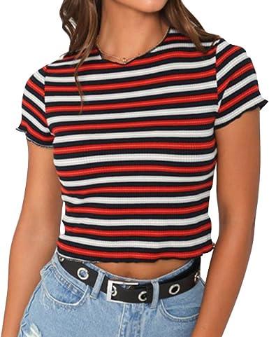 Yying Manga Corta Blusa para Mujer Verano Casual Camiseta de Rayas ...