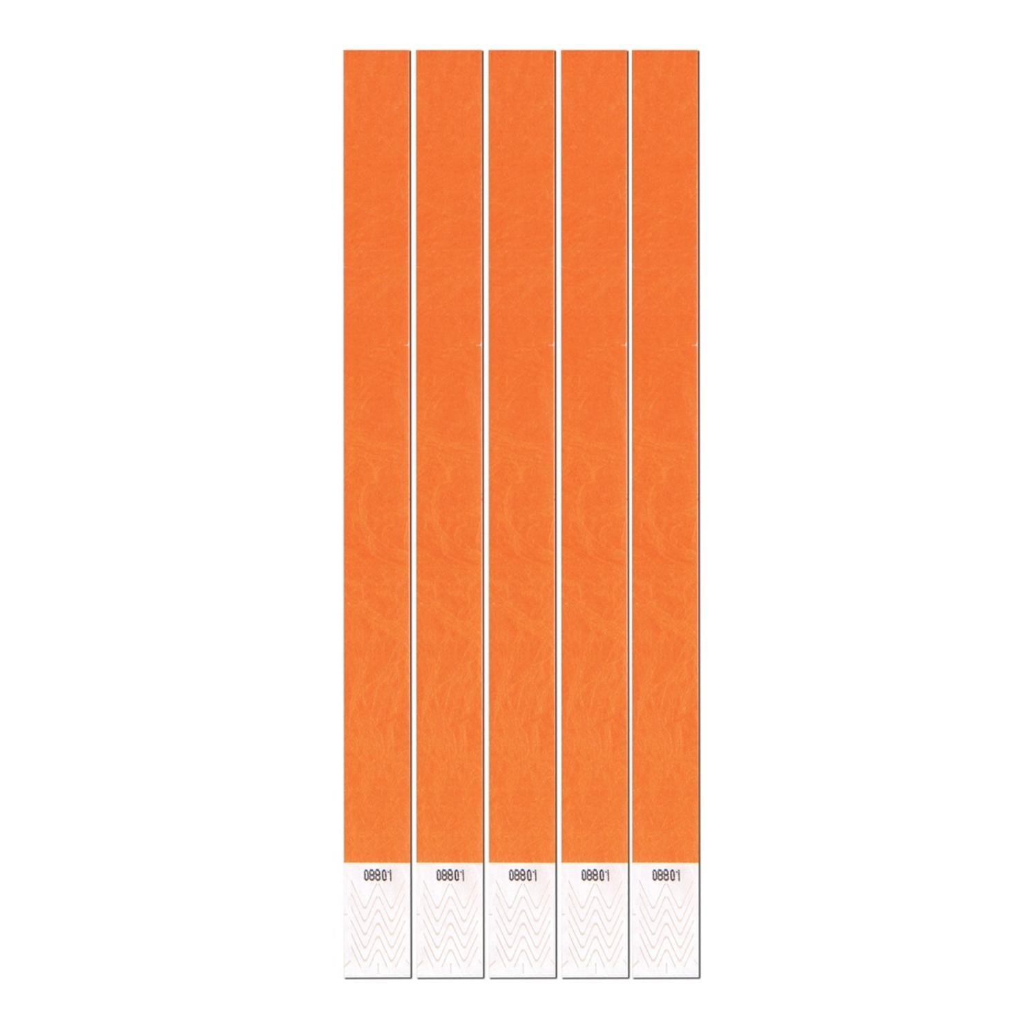 Club Pack of 600 Solid Orange 10'' Tyvek Party Wristbands
