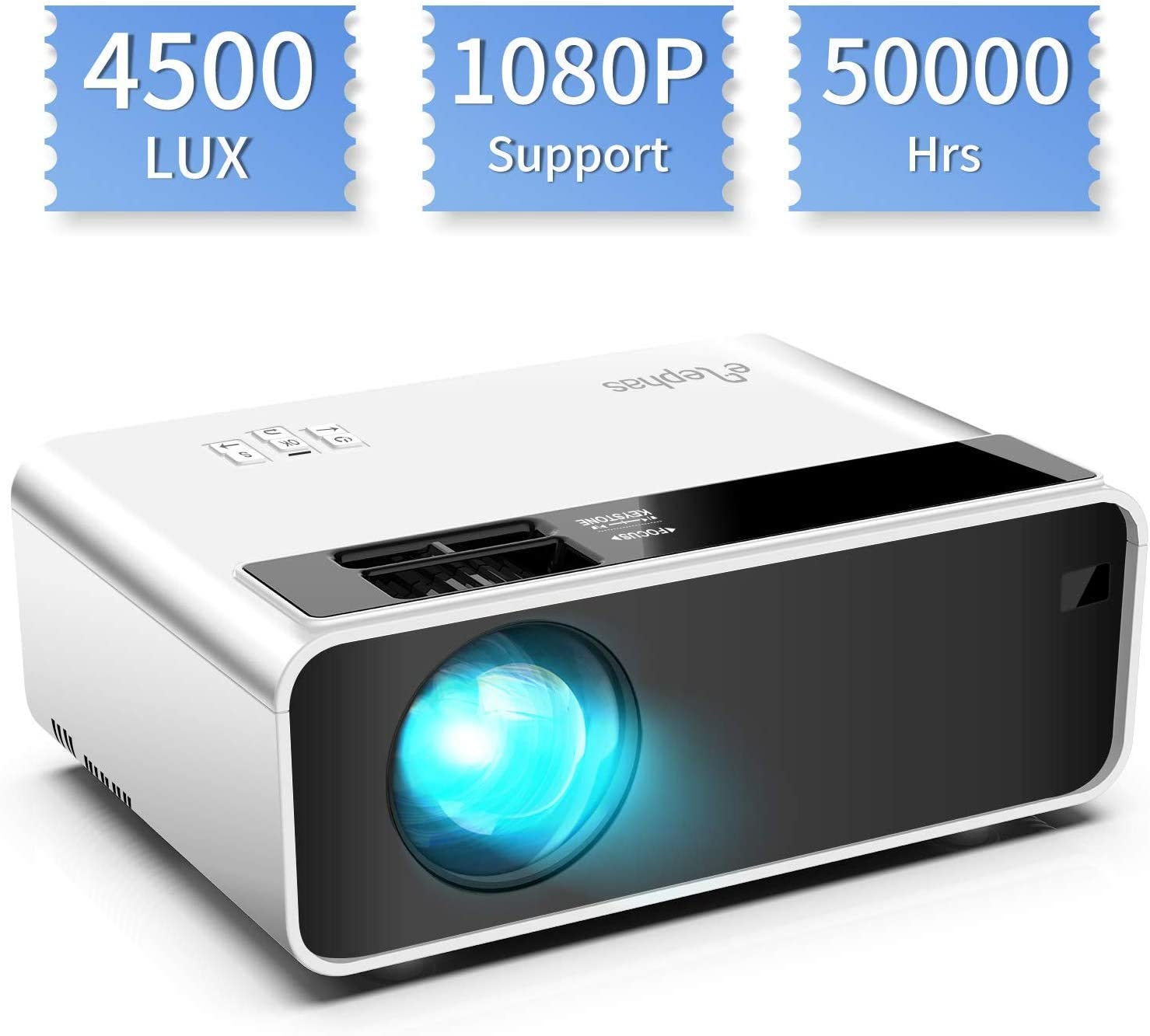 Mini proyector, ELEPHAS Video Proyector 4500 Lux Proyector de Cine en casa portátil LED de Larga duración 1080P Compatible, Compatible con PS4, PC a través de HDMI, VGA, TF, AV y USB Black (White)