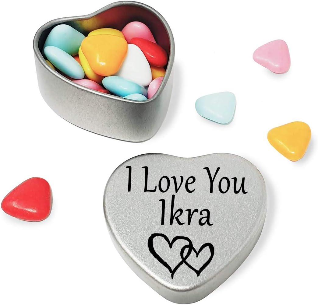 Happy Birthday Ikra Mini Heart Tin Gift Present For Ikra WIth Chocolates