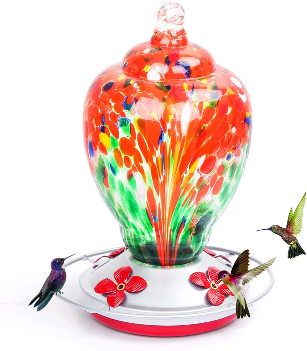 Hummingbird Feeders for Outdoors, 28 Ounces Hand Blown Glass Hummingbird Feeder with Upgraded Leak Proof Round Metal Stand, Wild Bird Feeder for Outside Garden Yard. Ant Moat, Hook and Brush Included