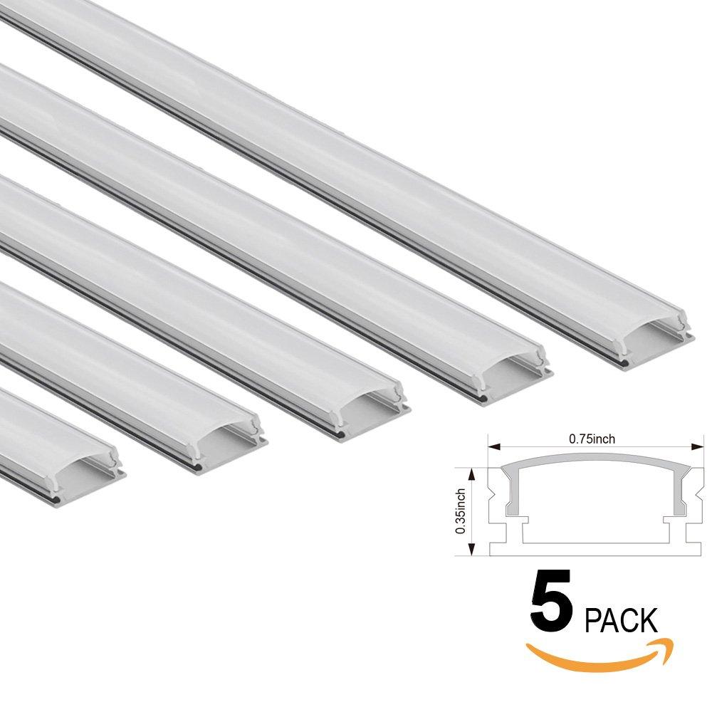 5 PACK of 1M/3.3ft U-Shape Aluminum Channel for
