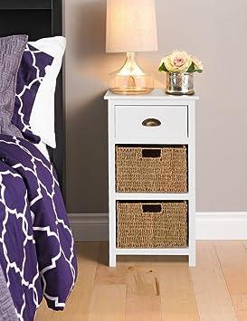 Homebase Ella White 3 Drawer Bedside Sea Grass Baskets Fully Assembled H 80 W 33 L 40cm Bedroom Furniture Solutions