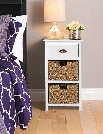 homebase ella white 3 drawer bedside sea grass baskets fully rh amazon co uk