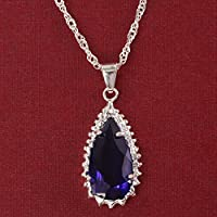 Phetmanee Shop Women Fashion Jewelry 925 Silver Tanzanite Pendant Necklace Engagement Wedding