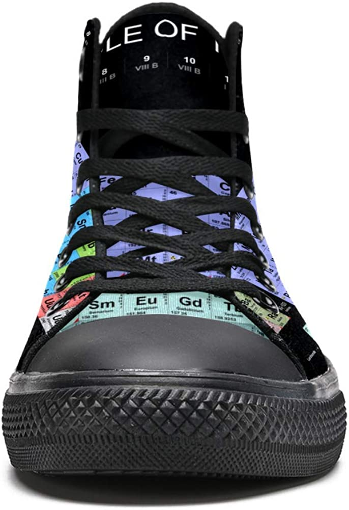 DEYYA Womens High Top Sneakers Periodic Table of The Elements Printing Fashion Lace up Canvas Shoes Casual Walking Shoe