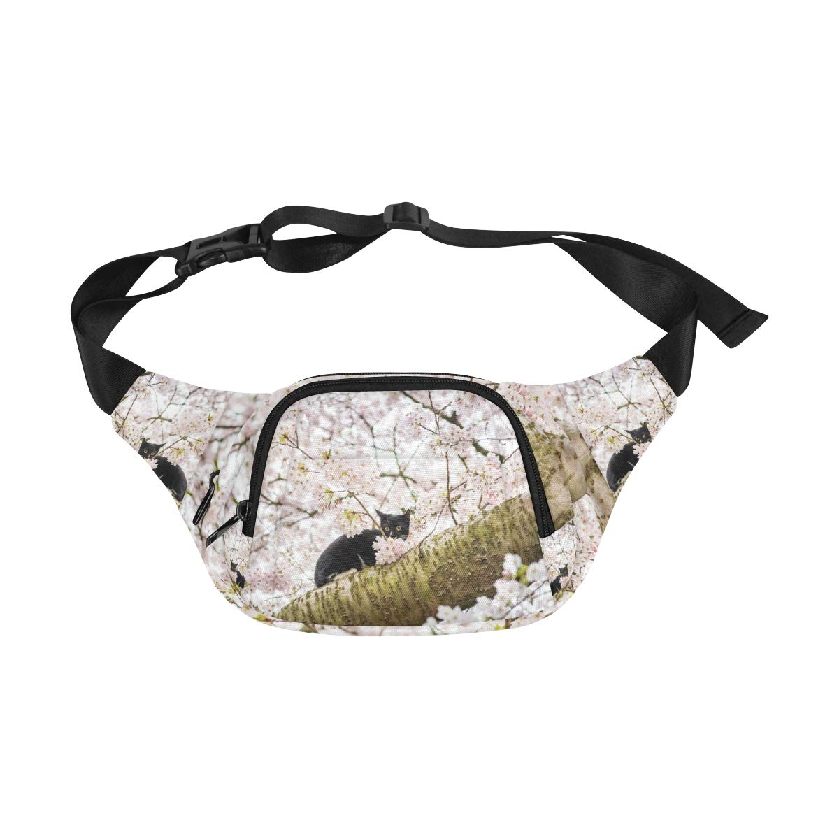 Cat And Flowers Of The Blossom Cherry Fenny Packs Waist Bags Adjustable Belt Waterproof Nylon Travel Running Sport Vacation Party For Men Women Boys Girls Kids