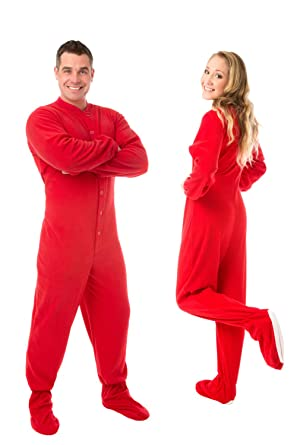 413206eb67 Image Unavailable. Image not available for. Color  Red Micro Polar Fleece  Sleeper Adult Footed Onesie ...