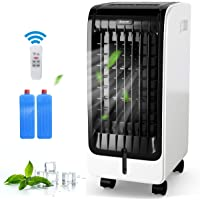 COSTWAY Evaporative Cooler, 4-in-1 Portable Cooling, Fan, Humidifier and Anion, with 3 Modes and 3 Speeds, 8H Timer, Electric Air Cooler with LCD Display and Remote, Built-in Handle for Home, Office
