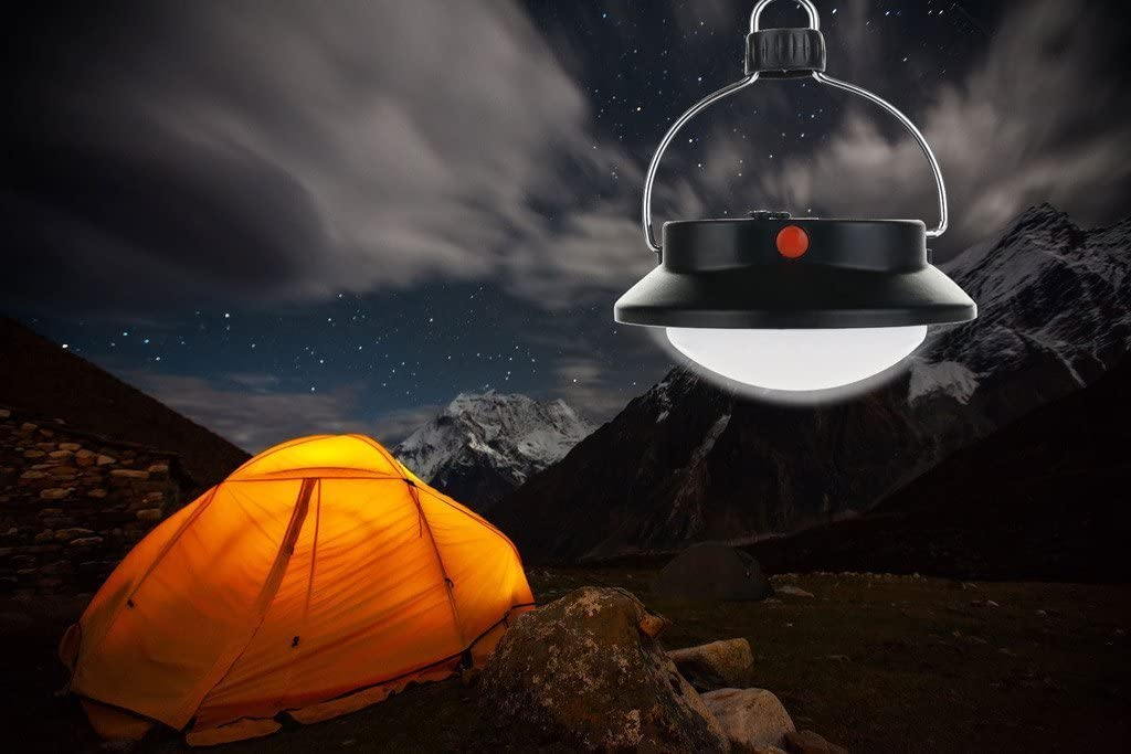 Outdoor Indoor Camping Lamp with Lampshade Circle Tent White Light Campsite Hanging Lamp