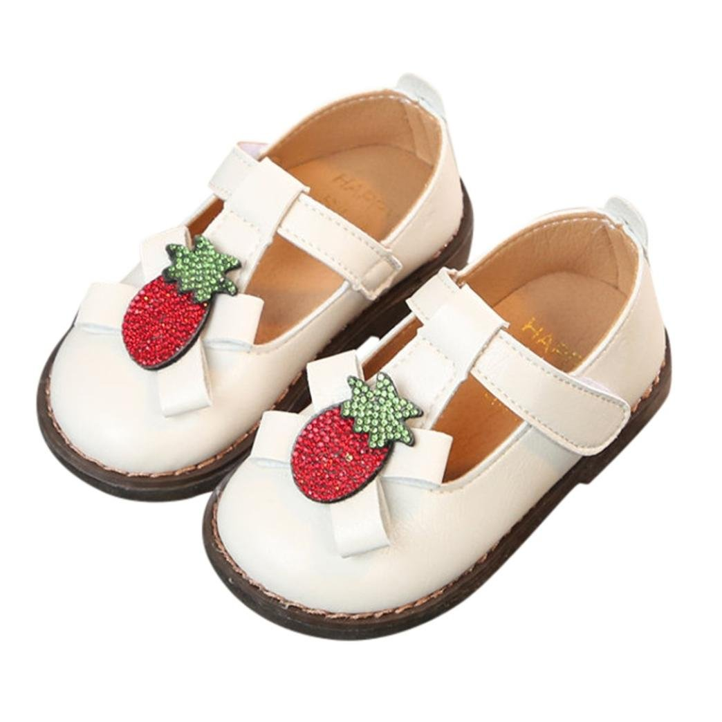 Ankola Kids Princess Shoes Girls Mary Jane Wedding Party Shoes PU Strawberry Crystal Bridesmaids Low Heels Princess Dress Shoes (Age:3.5-4T, White)