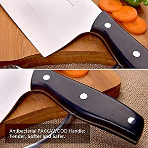 SPEVORIX 7 Inch Stainless Steel Chinese Chef's Knife Vegetable Meat Cleaver Multipurpose Use for Home Kitchen or Restaurant