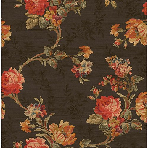 Green Floral Vine Wallpaper - Wallpaper Designer Coral Pink Orange Blue Green Rose Floral Vine on Black Faux