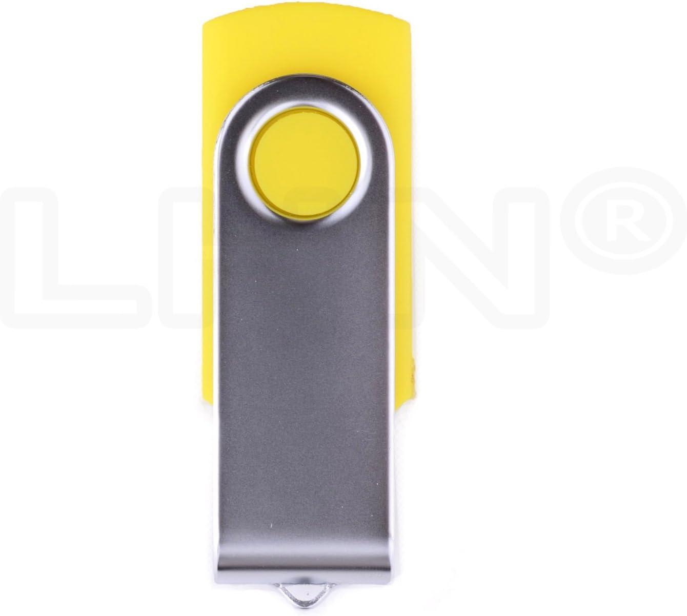 4GB Swivel USB Flash Drive USB 2.0 Memory Stick LHN Bulk 5 Pack Yellow