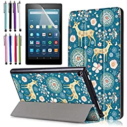 """Amazon Fire HD 8 Case (2017 7th Gen), EpicGadget(TM) Smart Cover Auto Sleep / Wake Premium Leather Folding Folio Case For Fire HD 8, 8"""" HD Display Tablet + Fire HD 8 Screen Protector (Deer Garden)"""