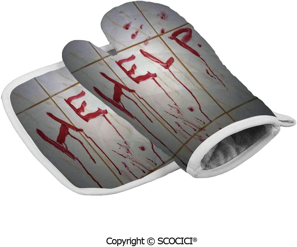 SCOCICI Oven Mitts,Professional Heat Resistant Bloody Help Note in Bathroom Themed Illustration Crime Horror Flowing Blood Non-Slip Kitchen Oven Glove for Cooking,Baking,Barbecue Potholders