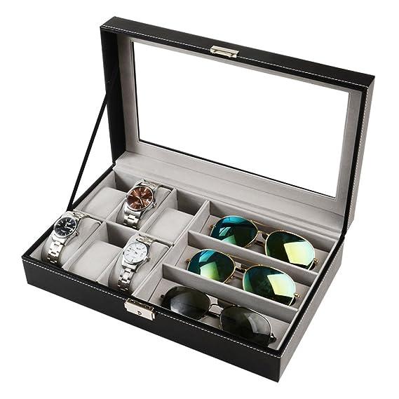 Caja para relojes y gafas de sol, 6 cajas de joyería, organizador de gafas, color negro: Amazon.es: Relojes