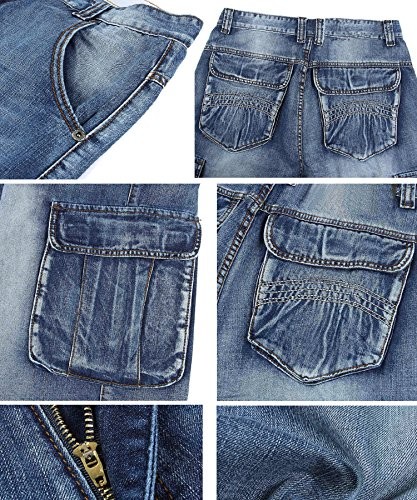 761b11ba404 PY-BIGG Men s Jeans Shorts Cargo Denim Shorts Relaxed Fit Big and Tall  Loose Casual