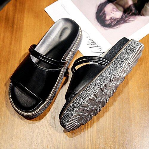 LIXIONG Portátil Verano Sandalias gruesas de la parte inferior Dragón femenino de la palabra zapatos antideslizantes de la playa Zapatos del estudiante -Zapatos de moda ( Color : A , Tamaño : EU37/UK4 B