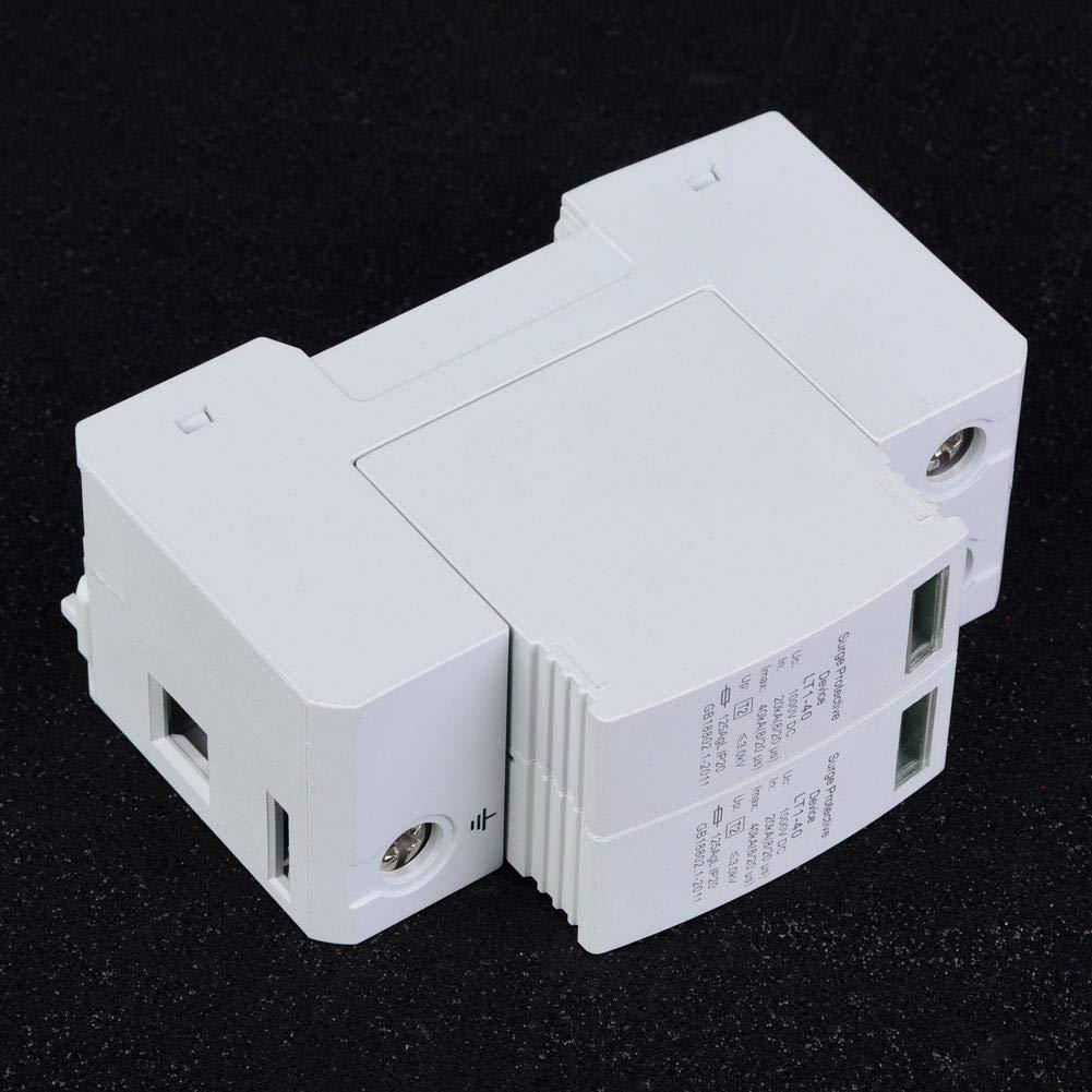 1000 V DC PC Flammwidriges Geh/äuse Photovoltaischer /Überspannungsableiter 2P 40KA Niederspannungsableiter Installation mit 36-mm-Standardf/ührungsschiene /Überspannungsschutzger/ät 2P