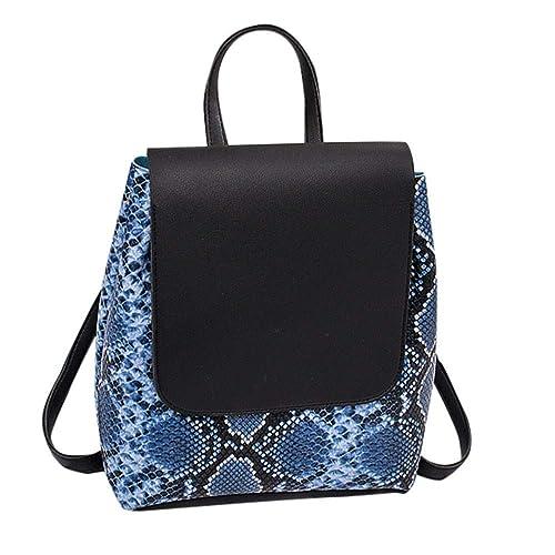 491f6f831de71 Ansenesna Rucksäcke Damen Leder Mittel Vintage Wasserdicht Elegant Taschen  Teenager Freizeit Backpack (Blau)  Amazon.de  Schuhe   Handtaschen