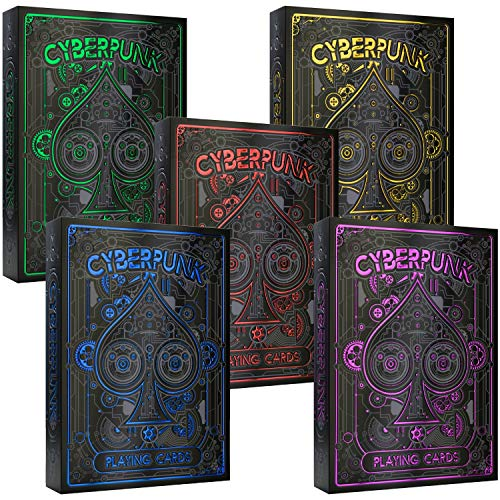 Cyberpunk Playing Cards 5-Deck Bundle: Buy Together And Save 20% On Cyberpunk Purple & Cyberpunk Blue & Cyberpunk Red & Cyberpunk Gold & Cyberpunk Green - Deck of Cards, Premium Card Deck, Poker Cards
