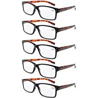 Eyekepper 5-pack Spring Hinges Vintage Reading Glasses Men Readers Black Frame Tortoise Arms +4.0