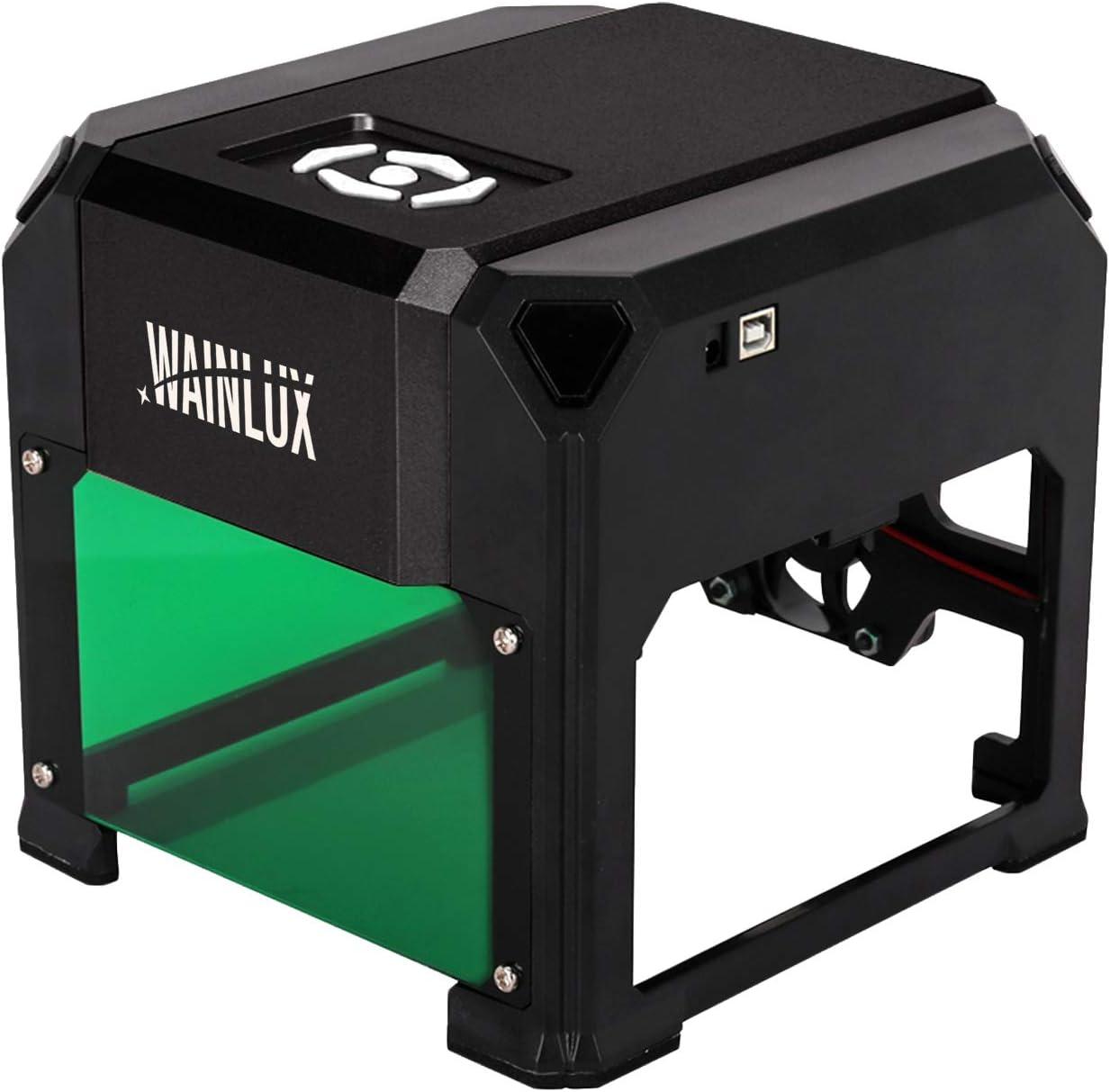 "WAINLUX K4 Laser Engraving Machine, Mini Laser Engraver Support Win, MAC Connection, 3000mW Small Desktop Laser Marking Machine, Laser Etching Range 3.14""×3.14'', DIY Logo Dsign (Black)"