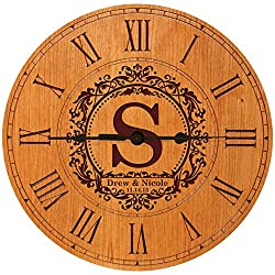 Personalize Wedding Anniversary Gifts Decorative Modern Wall Clocks Housewarming Gifts for Parents (Cherry Roman)