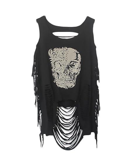 Camisetas Tirantes Mujer Sin Mangas Cuello Redondo con Flecos Retro Hippie Moda Joven Bastante Hipster Punk Casual Street Style Verano T Shirt T-Shirt ...