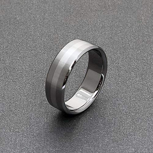 (Titanium Ring with a Wide Centered Solid Platinum Inlay)