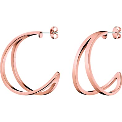 4862c9840 Image Unavailable. Image not available for. Color: Ladies Calvin Klein Rose  Gold Plated Outline Earrings KJ6VPE100200
