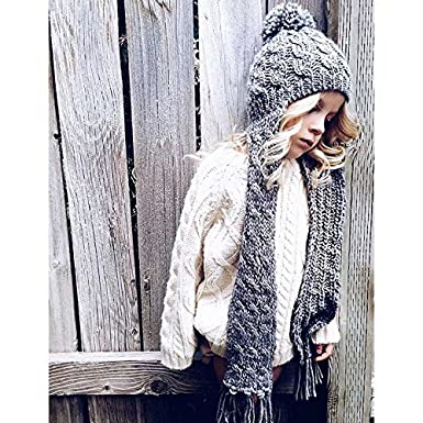 001025e20e4 Amazon.com  Neon Eaters Cute Girls Scarf Winter Hat - Gray - Ski Kids  Womens Beanie Knit Snowboard Warm  Clothing