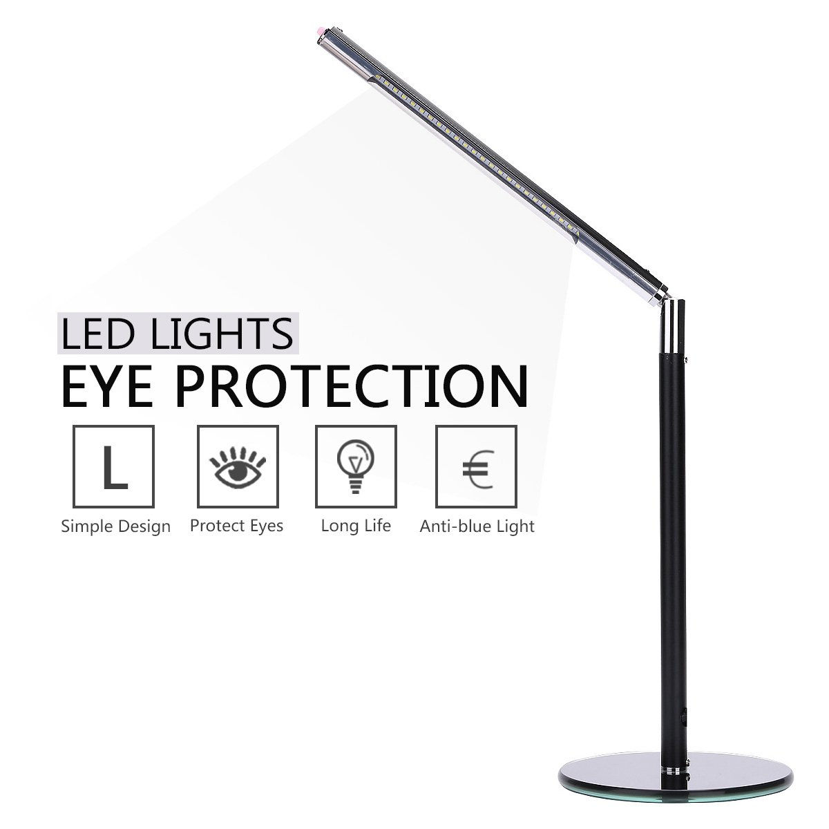 Hogoo 3-Level Eye Protection LED Desk Lamp,90° Adjustable,5V,3Watt,24 Lamp Beads,Black