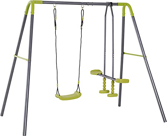 HOMCOM Set de Columpio Infantil al Aire Libre con Columpio y Planeador de balancín Columpio Jardín de Metal Juguetes Exterior Adecuado Niños 3-10 Años: Amazon.es: Hogar