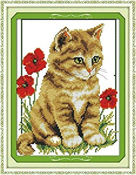 DIY Preprinted Embroidery kit for Beginner Cute Animals Cat J044 cat in high Heels, Size 15x16 Happy Forever Cross Stitch Kits 11CT Stamped Patterns for Kids and Adults