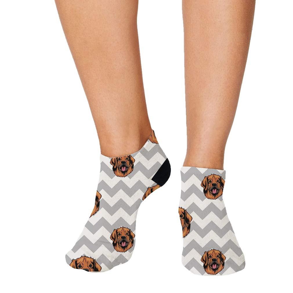 Leonberger Dog Gray Zigzag Pattern Men-Women Adult Ankle Socks