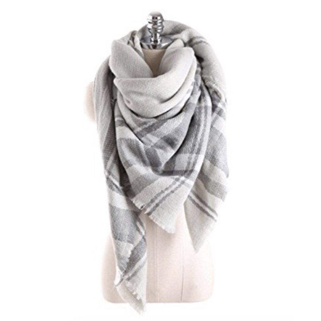 Women's Cozy Tartan Blanket Scarf Wrap Shawl Neck Stole Warm Plaid Checked Pashmina (Grey White)