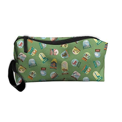 Travel Makeup National Parks Snowdomes Small Scatter In Forest Green Cosmetic Pouch Makeup Travel Bag Purse Holiday Gift For Women Or Girls