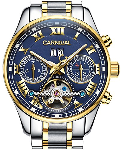 LOREO Men's Automatic tourbillon Multifunction Sapphire Gold Stainless Steel Waterproof Blue Dial (Chronometer Automatic Gold Case)