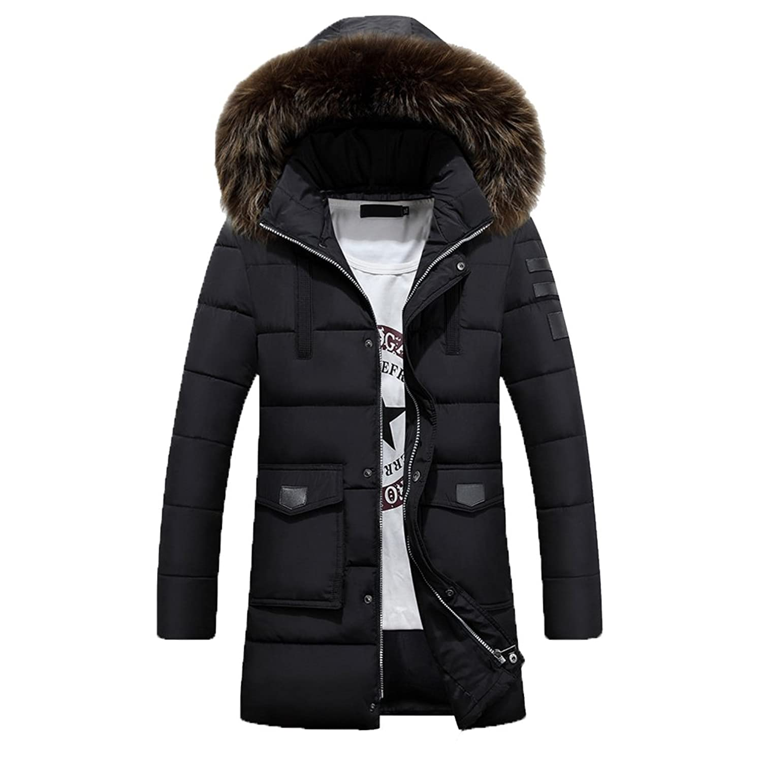 Zhhlaixing Men's Hooded Outerwear Plus Thicken Fashion Winter Overcoat
