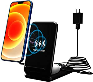 Blueendless Wireless Charger,3 in 1 Qi-Certified Fast Charging Station Compatible with iPhone 12 11/11 Pro Max/XR/XS Max/XS/X,Iwatch 6 5 4 3 2 and Airpods(Include QC3.0 Adapter)