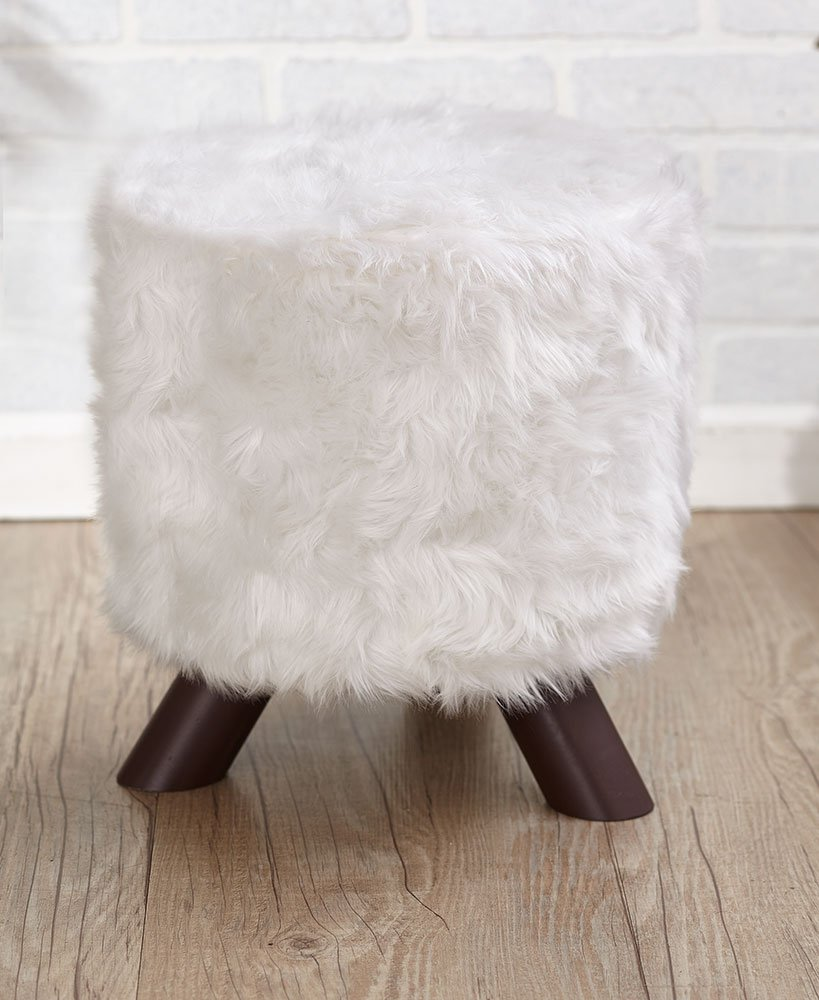 The Lakeside Collection Animal Print Fabric-Covered Ottoman - White Fur