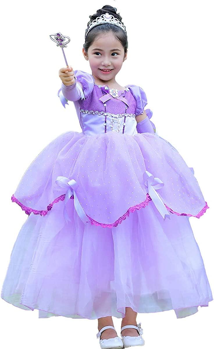 Kids Girls Princess Costume Dress up Off Shoulder Fancy Role Play Halloween Cosplay Birthday Party Pageant Tulle Ball Gown