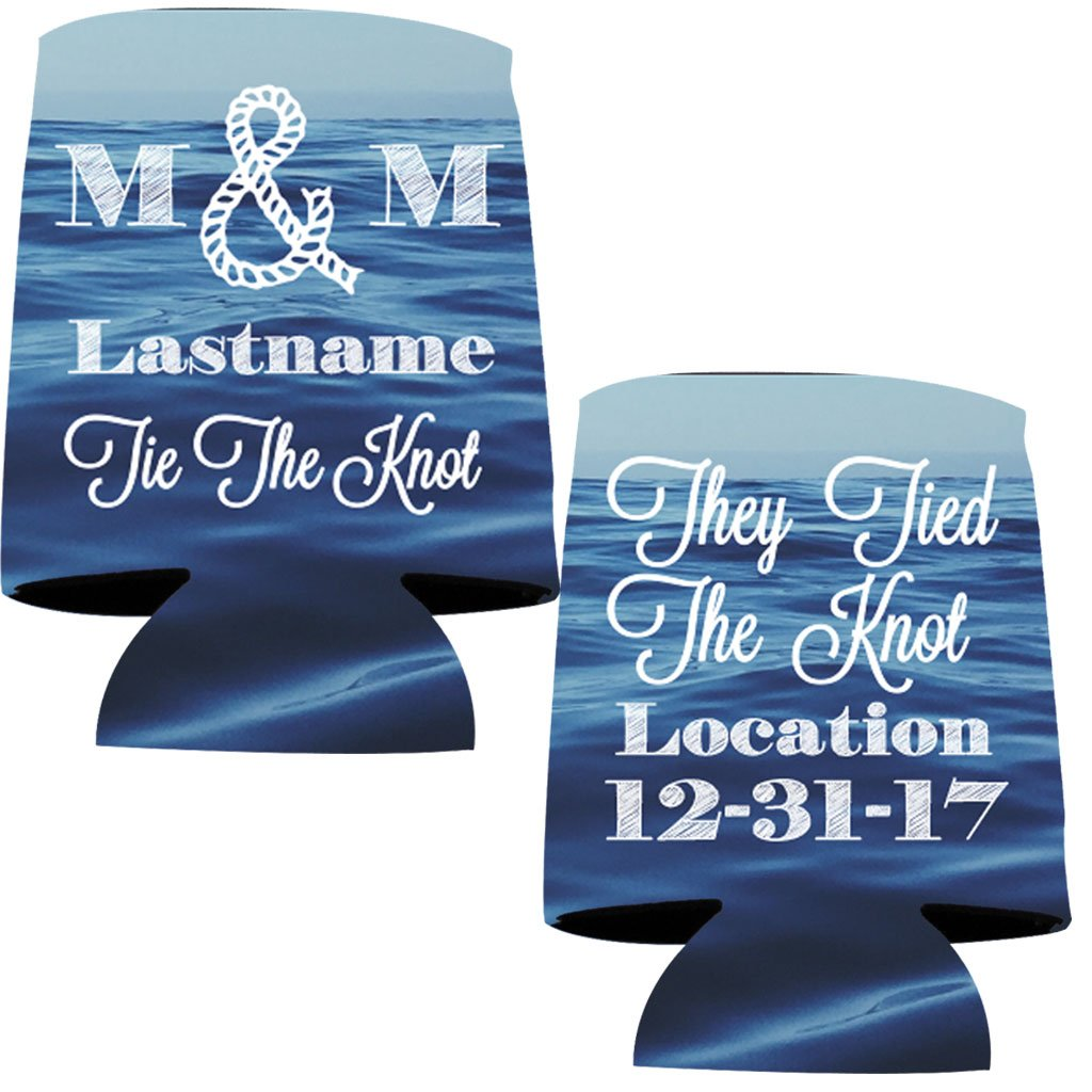 """VictoryStore Can and Beverage Coolers: Neoprene Customizable Nautical """"Tie The Knot"""" Wedding Can Coolers - 100pc"""