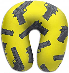 Emvency U-Shaped Travel Neck Support Pillow Guns Pistols Pattern Silhouette Gangster Airplane 12x11.5 Inch Soft U-Pillows with Rebound Material for Kids Adults