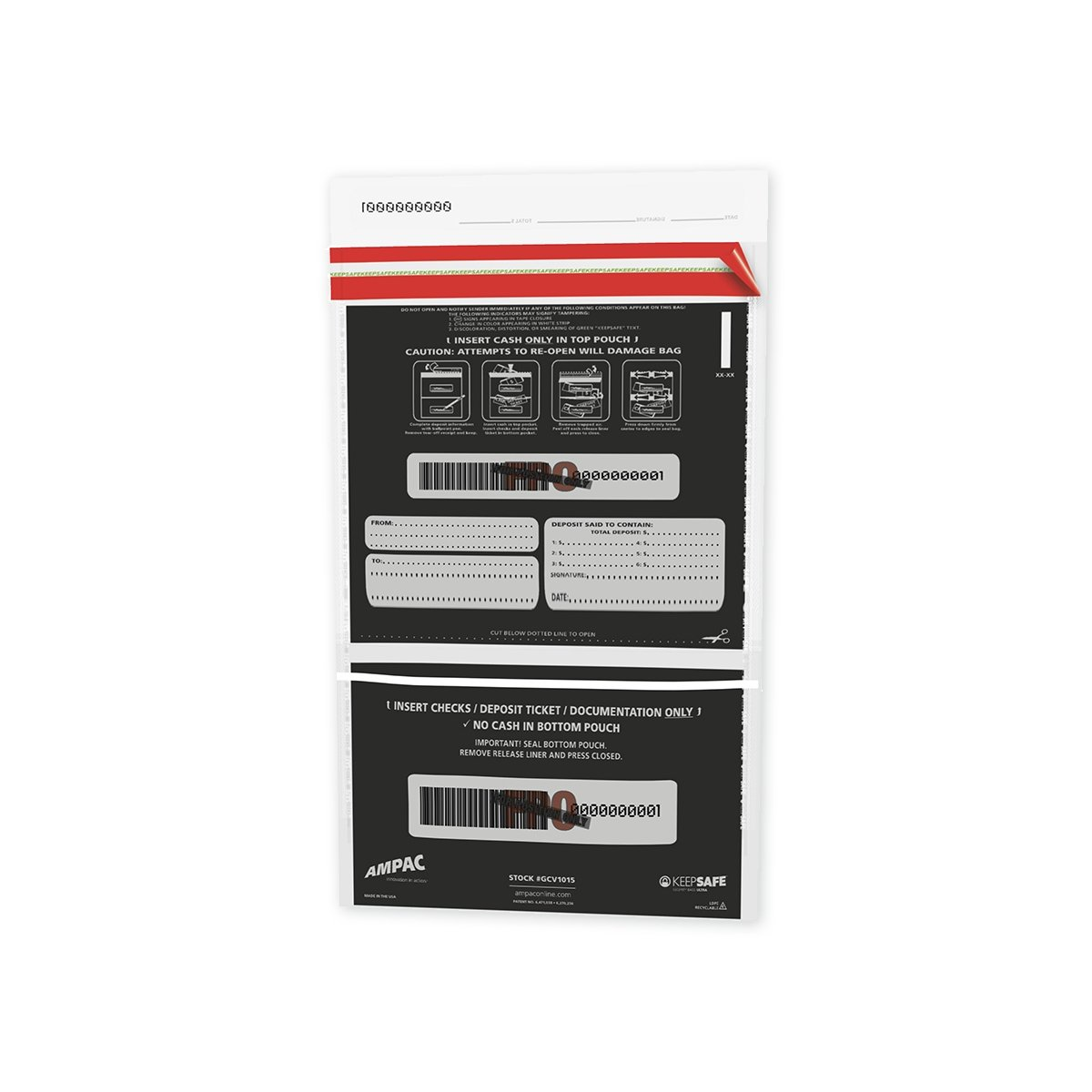 Large Bank Deposit Bags - Clear Front Black Back - Dual Pockets (800 qty)