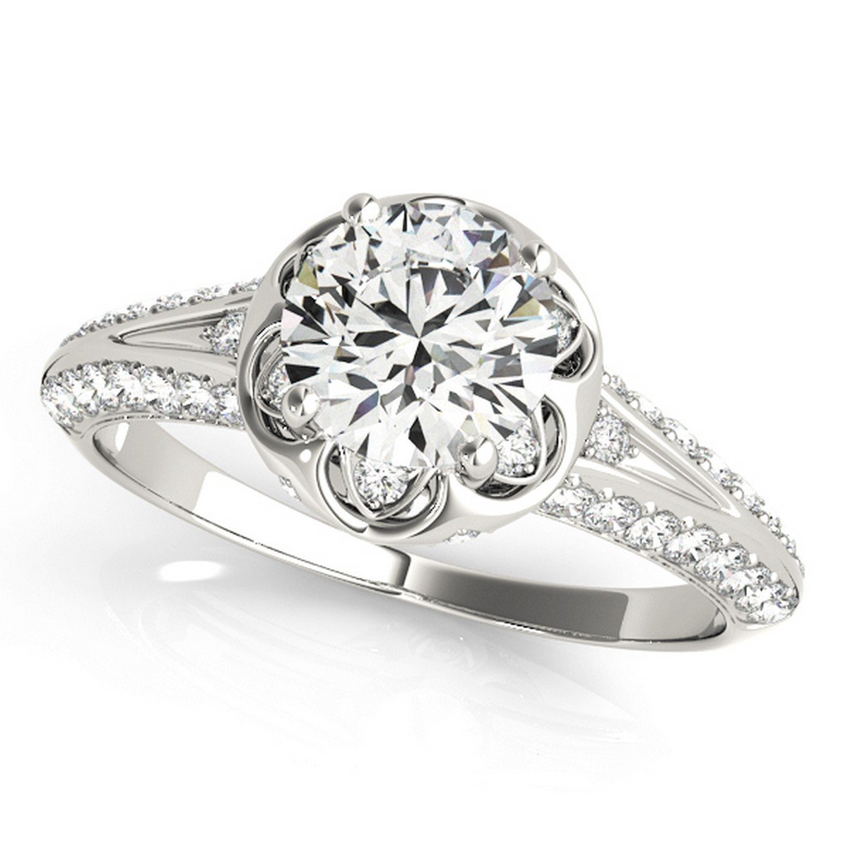 Diamond Floral Style Halo Engagement Ring Platinum (0.75ct)