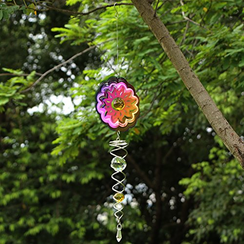 Ymeibe Sun Hanging Spinner Garden Galvanized Wind Spinner Outdoor with Helix Spiral Tail and Glass Ball 3-D Stainless Steel Kinetic Twisting Decor for Patio, Deck or Yard by Ymeibe (Image #2)