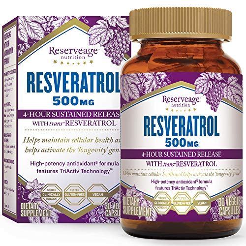 Grape Antioxidant - Reserveage, Resveratrol 500 mg, Antioxidant Supplement for Heart and Cellular Health, Supports Healthy Aging, Paleo, Keto, 30 capsules (30 servings)